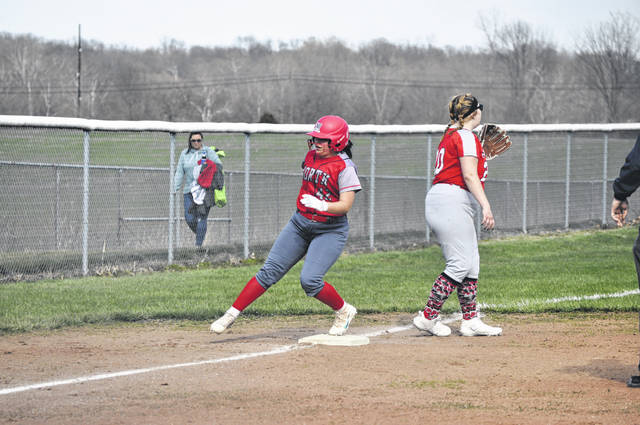 Tri-County North senior Annie Ferguson rounds third after a triple during North's game against Twin Valley South on Tuesday, March 30. North won 16-1.