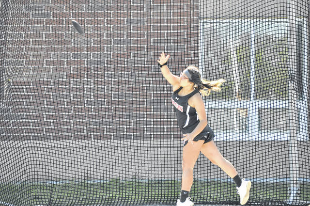 Top three finishers for Girls Discus were Mallory Deaton, Eaton (122-08, 8 pts), Cait Gilland, NT (101-06, 6 pts) and Delaney Deaton, Eaton (94-09, 4 pts).