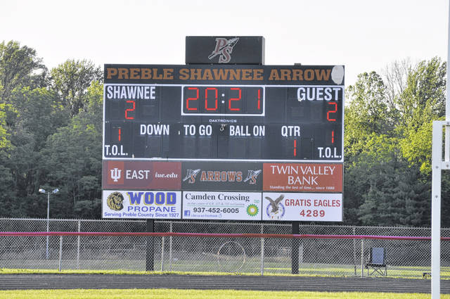 2021 was flashed up on the football field's scoreboard throughout Preble Shawnee's graduation ceremony on Friday, June 4.