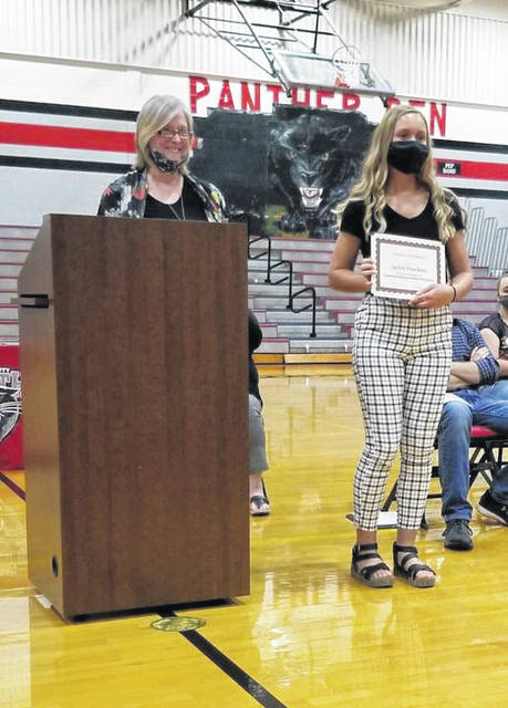 Hawkins was presented with a $1,000 scholarship from the Lewisburg Historical Society at the Tri- County North Senior Awards Ceremony held on Wednesday, May 19.