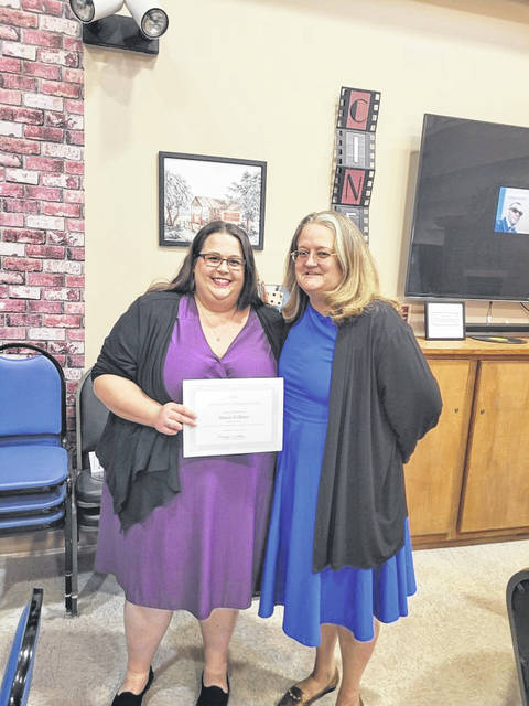 Stacey Fullmer (left) was presented as Preble Connect's July Professional of the Month by Preble County Council on Aging Executive Director Shelley Ratliff.