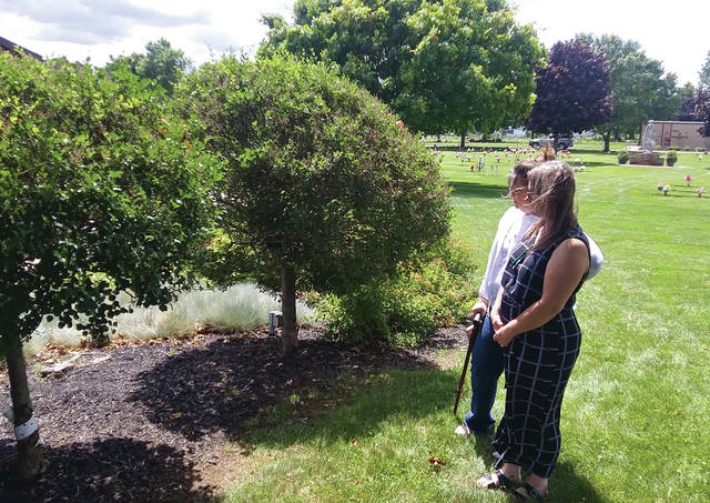Eaton resident and author Tamara Webb and Preble Memory Gardens owner Eshelle Bales view the future site of Preble County's Memorial for the Unborn.