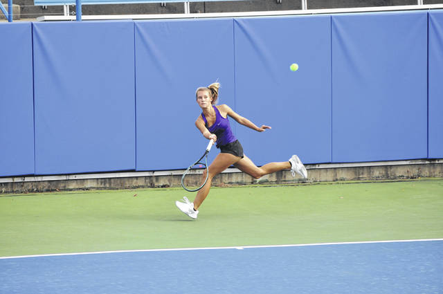 Junior Macy Hitchcock became Eaton tennis' first ever state champion last season.