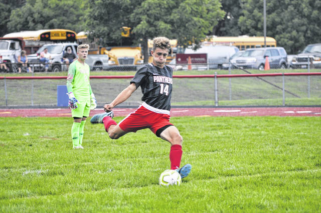 Twin Valley South then-sophomore Jake Sarver prepares to launch the ball during South's game against Carlisle on Saturday, Aug. 22, 2020. Sarver and the Panthers will look to replace Brayden Marker, the school's all-time leading scorer.