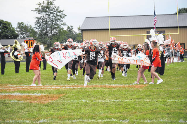 National Trail takes the field before its game against Preble Shawnee on Friday, Sept. 3. Shawnee won 41-0.