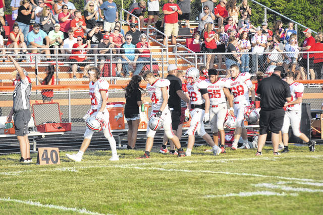 Tri-County North takes the field against National Trail on Friday, Aug. 27. North won 22-0.