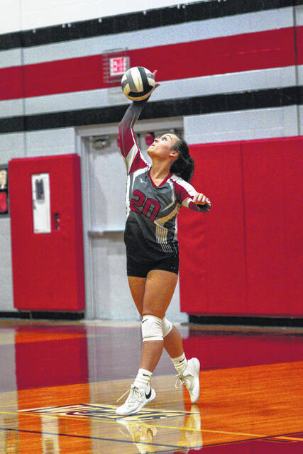 Tri-County North senior Morgan Erbaugh delivers a serve during their match against Twin Valley South on Thursday, Sept. 9. South won 25-20, 25-17, 25-18.