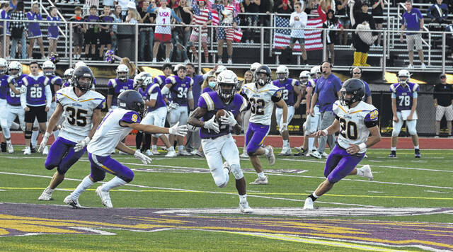 Eaton's Leslie Orr looks for running room during the Eagles game with Bellbrook on Friday, Sept. 10. Eaton knocked off Bellbrook for the first time since 2016 season, 21-20. With the win, Eaton improved to 4-0.