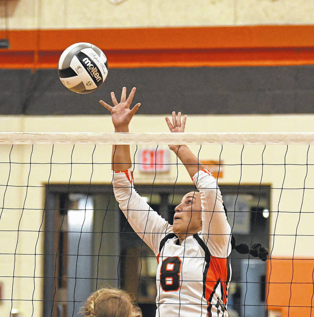 National Trail's J'da Jackson goes for a block during the Blazers non-league matchup with Ft. Recovery last week.