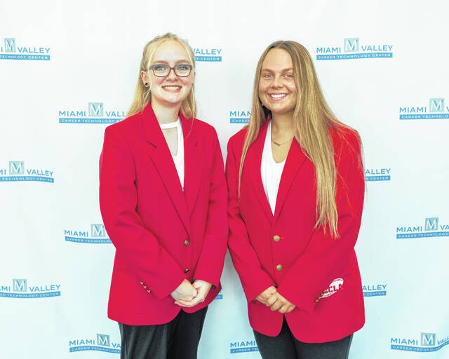 MVCTC FCCLA Officers 2021-2022 are left to right Vice President - Bethany Ashbaugh (Culinary Arts from Arcanum-Butler) and President - Abbie Bryant (Early Childhood Education from Eaton).