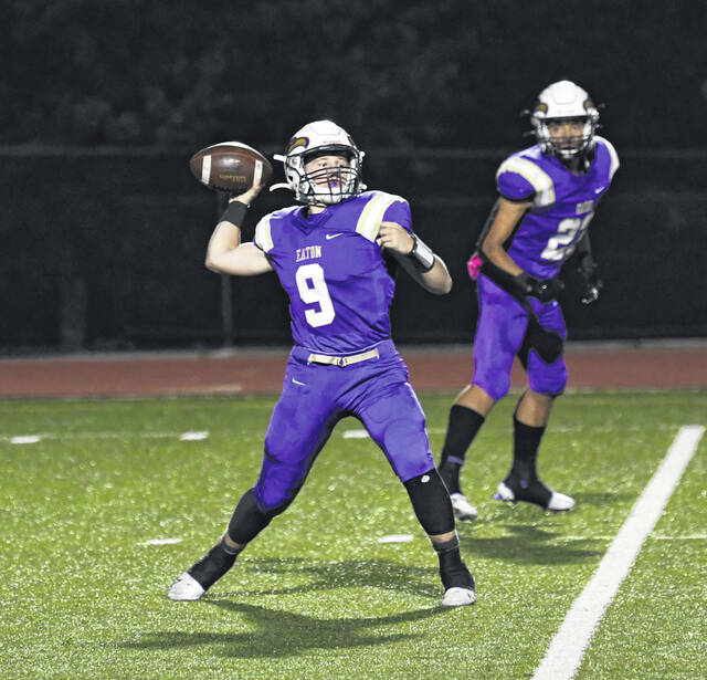 Eaton junior quarterback Brock Ebright completed 19-of-29 passes for 257 yards and three touchdowns to lead the Eagles to a 37-0 win over Carlisle on Friday, Oct. 8. The Eagles improved to 8-0 with the win.