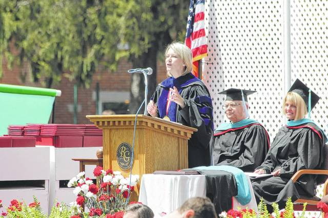 Dr. Michelle Johnston, president of both the University of Rio Grande and the Rio Grande Community College, speaks during a recent Rio commencement ceremony.