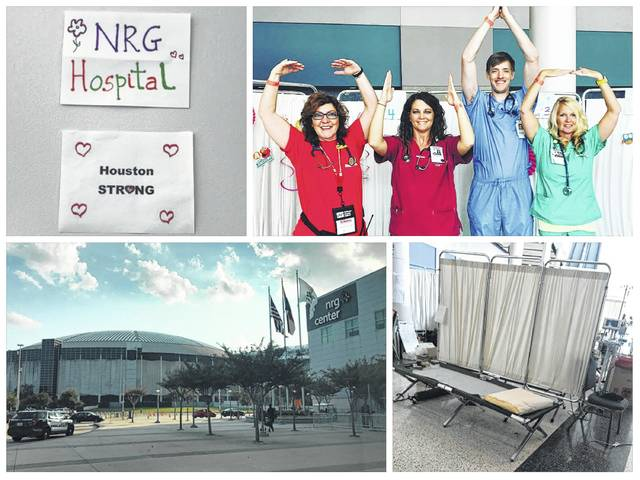 "Local nurse Jamie Smith, and co-worker Chris Patey, were among the volunteers who have spent time staffing an emergency room set up in the NRG Center in Houston, Texas, following Hurricane Harvey. (From top left) A sign at the shelter hospital conveyed the message of Houston Strong, a motto for the area following the hurricane; Smith, second from left, and Patey, far right, were joined by two others from Ohio to make an ""O-H-I-O"" on game day; Cots and screens were set up to serve as treatment rooms for those who needed emergency care while in the shelter; The NRG Center has served as a shelter for those in the Houston area since Hurricane Harvey hit the region."