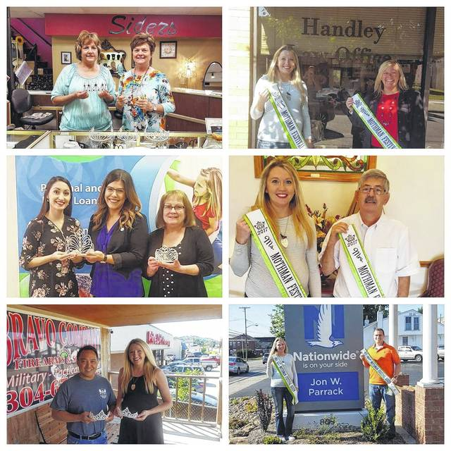 Sponsors of this weekend's Mothman Pageant included, top left, Siders Jewelers, represented by Deloris Blake and JoAnne Siders, sponsor of Jr. Royalty crowns (10 year sponsor); top right, Handley Law Office represented by Tanya Handley, sponsor of Teen & Miss Princess sashes; middle left, Peoples Bank, represented by Valerie Johnson, Brittany Burnett, and Roxanne Weaver, Teen & Miss crown sponsor (10 year sponsor); middle right, Deal Funeral Home, represented by David Deal, owner, sponsor of Ms. & Mrs. sashes (10 year sponsor); bottom left, Bravo Company, represented by Paul Simon, Ms. & Mrs. crown sponsor; bottom right, Jon Parrack Nationwide Insurance, represented by Jay Parrack, sponsor of Teen Miss & Miss sashes (10 year sponsor). Pageant Director Delyssa Edwards is also pictured in the collage.