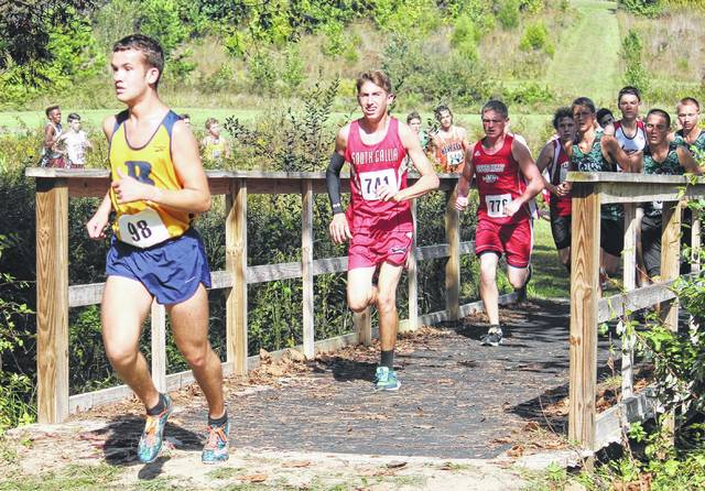 South Gallia's Garrett Frazee competes in the boys high school race as part of Saturday's Patty Forgey Cross Country Invitational in Rio Grande, Ohio.