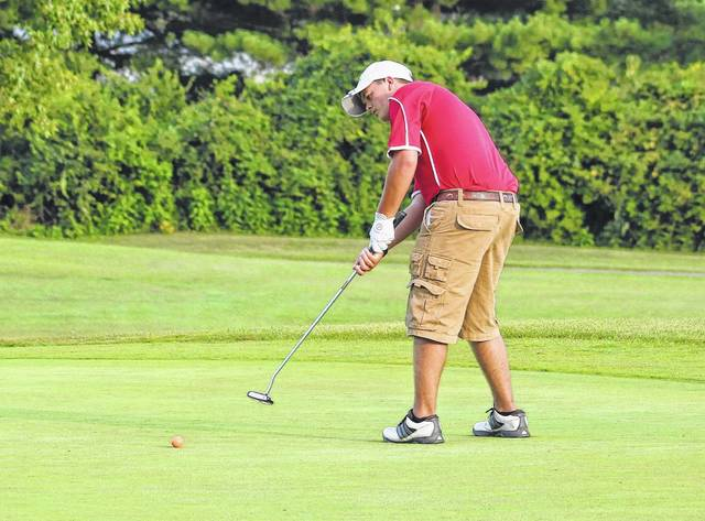 Wahama junior Gage Smith hits a putt attempt on the ninth hole during an Aug. 29 TVC Hocking golf match at Cliffside Golf Course in Gallipolis, Ohio.
