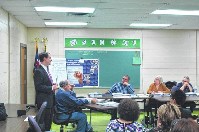 Nick Owens of the State Board of Education, standing, recently attended the board of education meeting for Gallia County Local Schools to discuss education in Ohio and answer questions from the public.