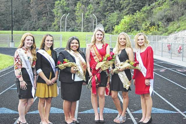 Pictured are members of the South Gallia Homecoming Court. From left, homecoming attendants Emma Shamblin, Alyssa Cremeens, Senior Princess Keirsten Howell, Homecoming Queen Alexandria Sweeney, Senior Princess Aaliyah Howell and homecoming attendant Bailey Walter.