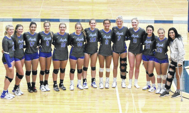 Members of the Gallia Academy volleyball team pose for a picture following the season finale on Monday. Standing from left to right are Maddy Petro, Hunter Copley, Arianna Jordan, Alex Barnes, Ryelee Sipple, Katie Carpenter, Aubrey Unroe, Peri Martin, Grace Martin, Ashton Webb, Taylor Burnette, Megan Bailey and Maddie Wright.