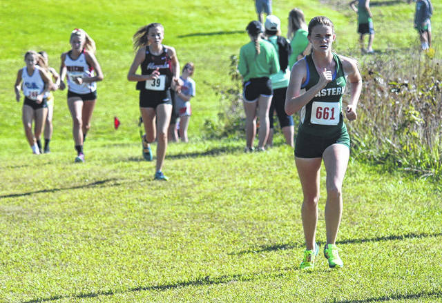 Eastern senior Jessica Cook competes in the girls high school race as part of the Patty Forgey Invitational cross country meet on Sept. 23 in Rio Grande, Ohio.
