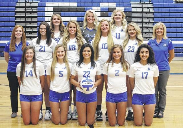 Pictured above are members of the 2017 Ohio Valley Conference champion Gallia Academy volleyball team. Kneeling in the front row, from left, are Hunter Copley, Alex Barnes, Maddie Wright, Peri Martin and Arianna Jordan. Standing in the middle row are assistant coach Kaci Cooke, Taylor Burnette, Katie Carpenter, Ryelee Sipple, Megan Bailey and head coach Janice Rosier. Standing in the back row are Aubrey Unroe, Grace Martin and Ashton Webb.