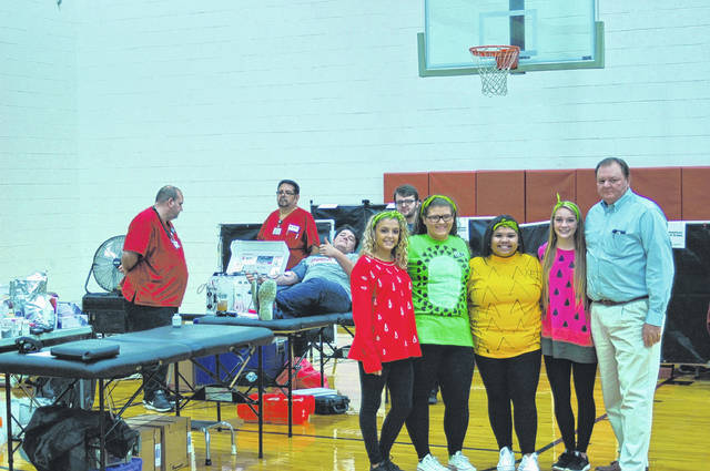 Members of the South Gallia LEO club dressed up as fruit for the Halloween aspect of the blood drive Wednesday.