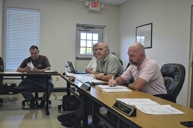 Gallipolis City Commissioners gathered Tuesday evening to listen to ongoing deliberations regarding the community block development grant. From left to right, sit Commissioners Mike Fulks, Stephen Wallis, Roger Brandeberry and Matt Johnson. Not pictured: Tony Gallagher.