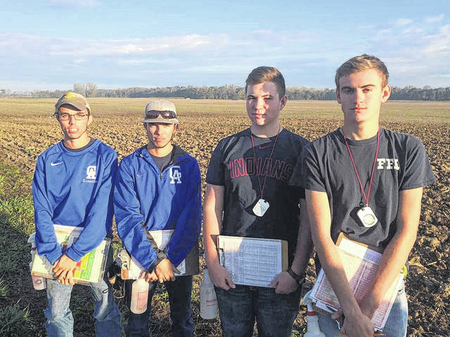 From left, Caleb and Kyle Greenlee, Clay Montgomery, and Cody Brumfield who attended the Ohio State Urban Soils contest.