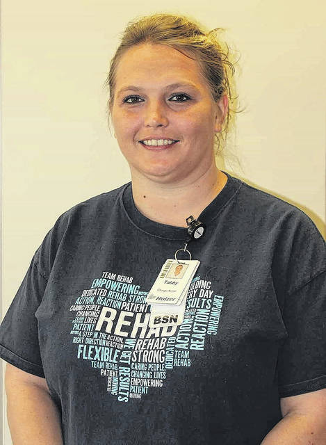 Shown is Tabatha Grimm, RN, BSN, Holzer Inpatient Rehabilitation Employee of the Year.