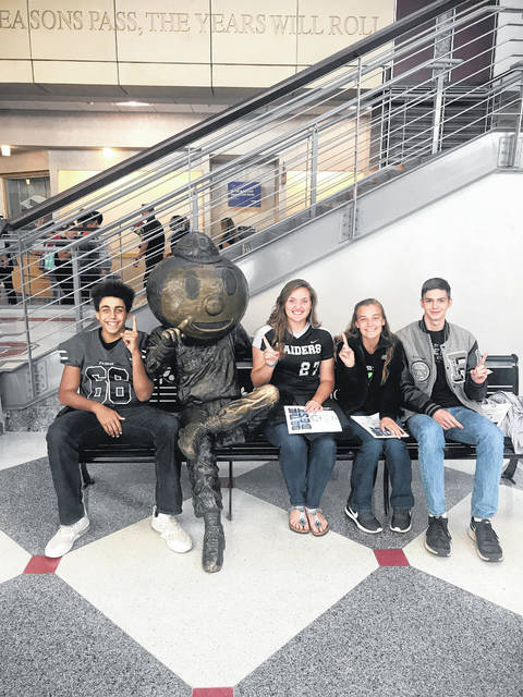 From left: Darian Peck, Skylar Jones, Julia Nutter, and Eric Weber on the campus of The Ohio State University for the OHSAA Student Leadership Conference.