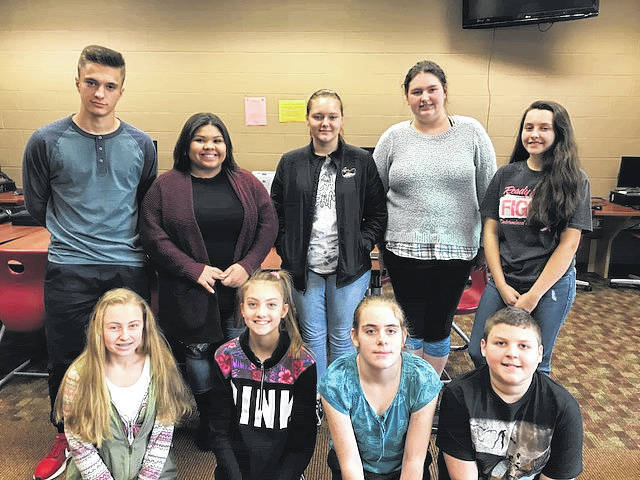 South Gallia Middle and High School Students of the Quarter pictured in the front row are Olivia Harrison, Natalie Johnson, Jennah Polcyn, and Colt Clark, and back row are Sviatoslav Hryhorenko, Keirsten Howell, Destiny Johnson, Madison Graves, and Ellen Weaver.
