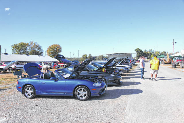 Over 45 cars registered to show, lining up to be seen by the crowd and enjoyed.