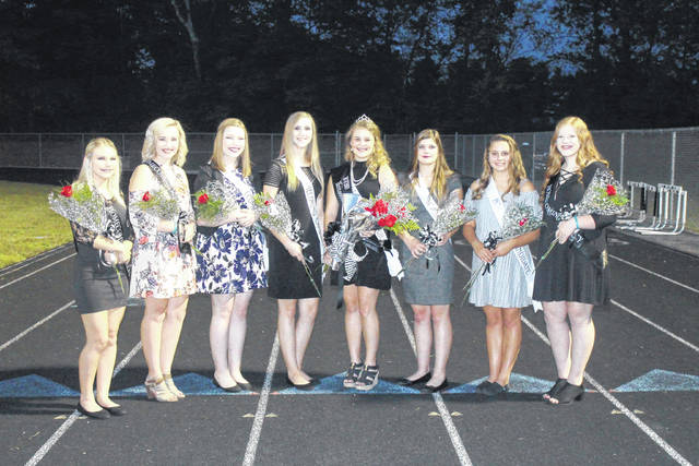 The 2017 River Valley High School Homecoming Court included, from left to right, freshman attendant Victoria Bradbury, junior attendant Morgan Johnson, Homecoming Queen candidate Maddi Young, Homecoming Queen candidate Kaylee Carter, Homecoming Queen Isabella Mershon, Homecoming Queen candidate Rayanna Adkins, Homecoming Queen candidate Jenna Burke and sophomore attendant Hannah Johnson.