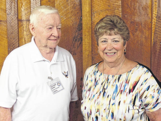 ORTA District Director Don Baker is pictured with Gallia County Retired Teacher President Ollie Paxton, right.