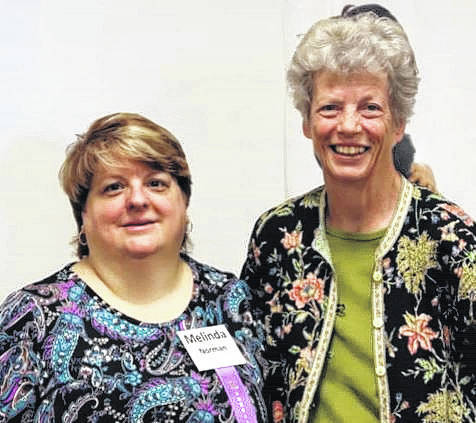 Vinton resident Melinda Norman, left, is seen with former Ohio First Lady Hope Taft after both were recognized at the annual forum of the Fetal Alcohol Syndrome Disorders (FASD) State Steering Committee on Sept. 15 in Columbus. Norman served as the committee's first chair from 2004 to 2013. Taft helped form the committee in 2003.