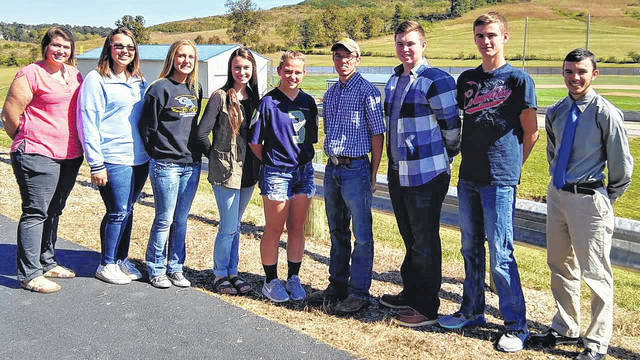 Gallia Academy sent eight FFA students to the district competition for soil judging. From left, Katherine Dickson, advisor, Ashleigh Miller, Abigail Cremeans, Grace Montgomery, Koren Truance, Caleb Greenlee, Clay Montgomery, Cody Brumfield, and Kyler Greenlee.