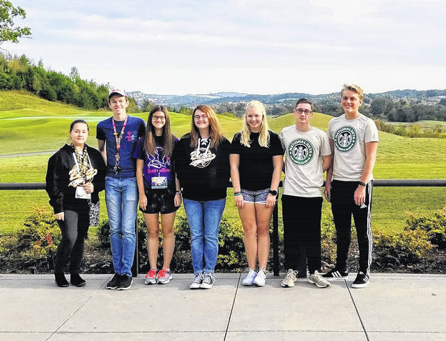 Students from River Valley High School attended the Pigeon Forge Leadership Summit in Tennessee last month. Pictured from left: Katie Sloan, Robbie Schuhl, Sharla Moody, Britni Hash, Kaylee Schultz, Ethan Browning, and Ian Eblin.