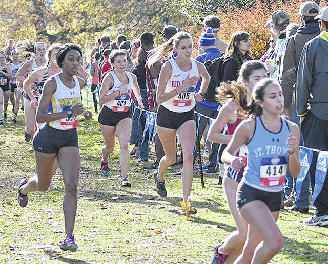 Rio Grande's Maggie Dellinger (404) and Lucy Williams (405) represented the RedStorm in Saturday's 2017 NAIA Women's Cross Country National Championships at the Fort Vancouver Historic Site in Fort Vancouver, Wash.