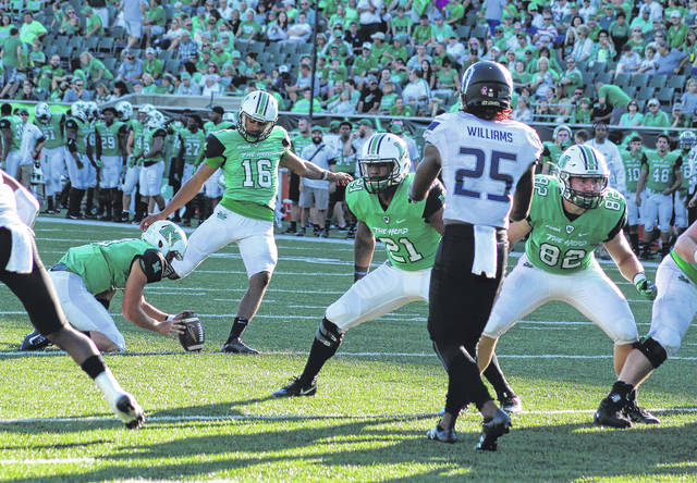 Marshall placekicker Kaare Vedvik boots and extra-point attempt during an Oct. 14 Conference USA football game against Old Dominion in Huntington, W.Va.