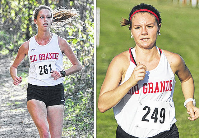 Rio Grande's Lucy Williams, left, and Maggie Dellinger qualified for the NAIA Women's Cross Country National Championship based on their respective finishes at Saturday's River States Conference Championship at Asbury University. Williams finished fifth and Dellinger placed seventh.