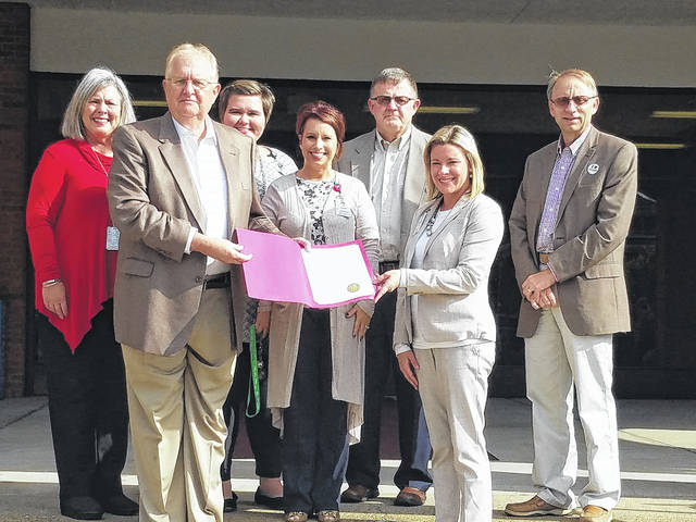 Gallia County Commissioners recently proclaimed November as National Home Care and Hospice Month. Shown pictured left to right: Cinda Saunders, MSW, LSW, Holzer Hospice, Harold Montgomery, Gallia County Commissioner, Katie House, Community Educator, Post Acute Care, Shelly Raneger, LSW, Holzer Hospice, Brent Saunders, Gallia County Commissioner, Sara Gore, Community Educator, Holzer Home Care, and David Smith, Gallia County Commissioner.