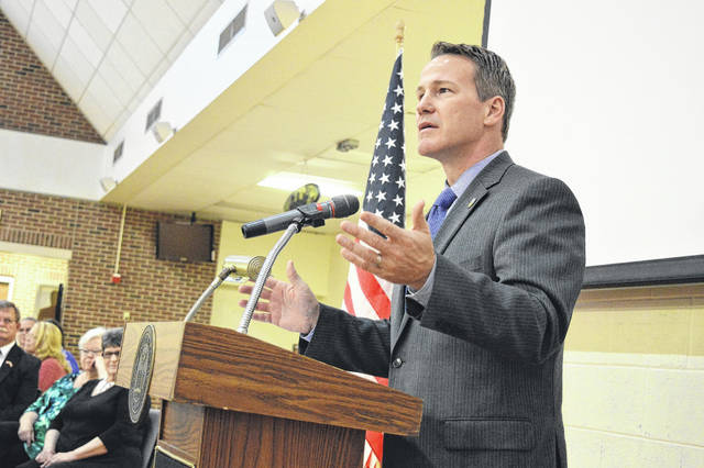 Ohio Secretary of State and gubernatorial candidate Jon Husted speaks before Gallia Republicans during the Lincoln-Reagan Day Dinner in April.