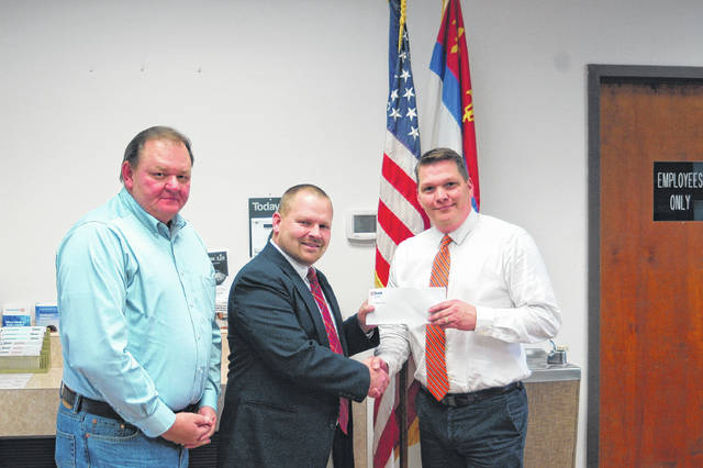 US Bank is supporting South Gallia's efforts to honor veterans this November. From left: Jeff Fowler, teacher and coordinator for the Veteran's Day Ceremony, Bray Shamblin, principal at South Gallia, and Jason Booher, branch manager at US Bank Silver Bridge Plaza.