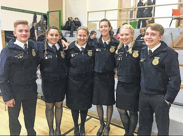 The River Valley FFA Chapter competed at Waterford High School for the Sub-District Parliamentary Procedure. Their officer team placed first at the competition and are set to compete Thursday, Nov. 29 at River Valley High School at 10 a.m. For more updates on RVHS FFA, visit them on Facebook at River Valley FFA Chapter. From left: Caleb Mcknight, Jenna Burke, Allison Hale, Josie Jones, Kaylee Schultz, and Jake Edwards.