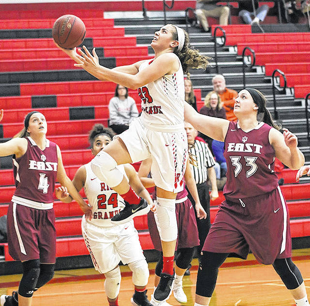 Rio Grande's Jasmine Smith scores two her career-high 28 points in Tuesday night's 82-76 triumph over 12th-ranked Indiana University East. Smith also had a game-high 12 rebounds in the victory.