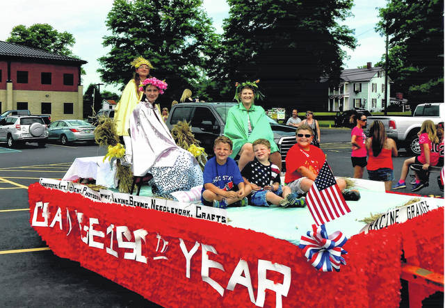 The Racine Grange float in the Fourth of July Parade was crafted to celebrate 150 years of the Grange.