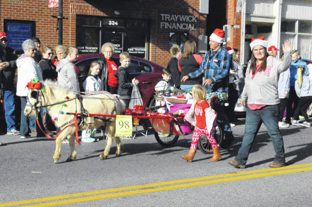 A miniature horse and cart stride by as part of the Gallipolis Christmas Parade festivities.