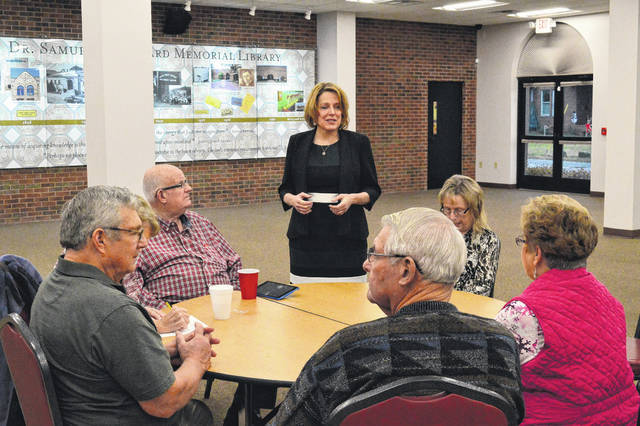 Gubernatorial Ohio Candidate Connie Pillich, standing, speaks before Gallia County Democrats and citizens at Bossard Memorial Library Tuesday afternoon.
