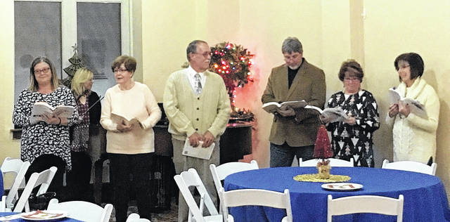 Some of the Ariel Singers performed for the annual Gallipolis Rotary Christmas dinner at the Ariel. Left to right Jeannie Wilson, Elaine Swinney (violin), Judy Cavendish (Director), Duane Will, Mike Edleman, Carel Blank and Theresa Northup. Barb White was accompanying on piano.