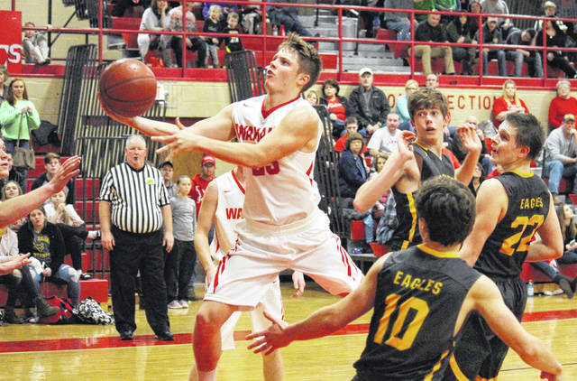 Wahama junior Brady Bumgarner hits a layup in the fourth quarter of Wahama's 43-42 victory on Tuesday in Mason, W.Va.
